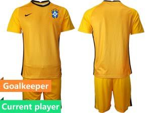 Mens 20-21 Soccer Brazil National Team Current Player Goalkeeper Short Sleeve Suit Jersey 4 Color