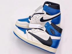 Mens And Women Fragment X Travis Scott X Air Jordan 1 Military Blue Basketball Shoes One Color