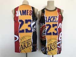 Mens Nba Los Angeles Lakers #23 Lebron James Yellow Tripartite Split Swingman Mesh Jersey