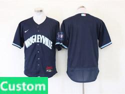 Mens Nike Chicago Cubs Custom Made Dark Blue Wrigleyville Flex Base Nike Jersey