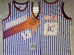 Mens Nba Phoenix Suns #13 Steve Nash White Stripe Mitchell&ness Hardwood Classics Swingman Mesh Jersey