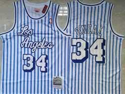 Mens Nba Los Angeles Lakers #34 Shaquille O'neal Blue Mitchell&ness Hardwood Classics Swingman Mesh Jersey