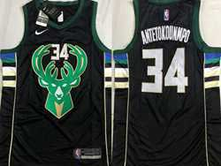 Mens Nba Milwaukee Bucks #34 Giannis Antetokounmpo Black Swingman Nike Jersey