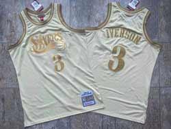 Mens Nba Philadelphia 76ers #3 Allen Iverson Cream Gold Number 2000-01 Hardwood Classics Swingman Jersey