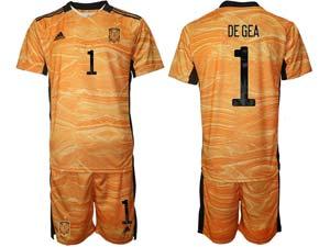 Mens Kids Soccer Spain National Team Custom Made 3 Colors 2020 European Cup Goalkeeper Short Sleeve Suit Jersey