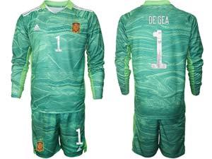 Mens Kids Soccer Spain National Team Custom Made 3 Colors 2020 European Cup Goalkeeper Long Sleeve Suit Jersey
