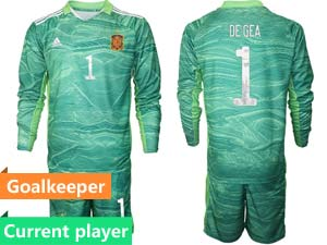 Mens Kids Soccer Spain National Team Current Player 3 Colors 2020 European Cup Goalkeeper Long Sleeve Suit Jersey