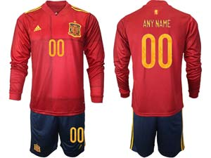 Mens Soccer Spain National Team Custom Made Red Eurocup 2021 Home Long Sleeve Suit Jersey