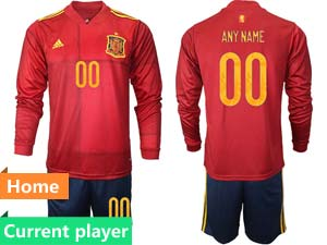 Mens Soccer Spain National Team Current Player Red Eurocup 2021 Home Long Sleeve Suit Jersey