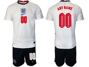 Mens Soccer England National Team Custom Made White 2021 European Cup Home Short Sleeve Jersey