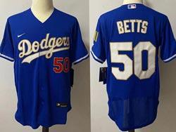 Mens Mlb Los Angeles Dodgers #50 Mookie Betts Blue 2021 Champions Flex Base Nike Jersey