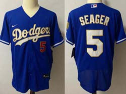 Mens Mlb Los Angeles Dodgers #5 Corey Seager Blue 2021 Champions Flex Base Nike Jersey