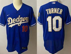 Mens Mlb Los Angeles Dodgers #10 Justin Turner Blue 2021 Champions Flex Base Nike Jersey