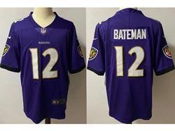 Mens Nfl Baltimore Ravens #12 Rashod Bateman Purple Vapor Untouchable Limited Nike Jersey