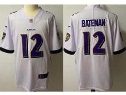Mens Nfl Baltimore Ravens #12 Rashod Bateman White Vapor Untouchable Limited Nike Jersey