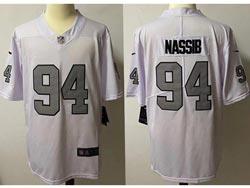 Mens Nfl Las Vegas Raiders #94 Carl Nassib White Silver Number Vapor Untouchable Limited Nike Jersey
