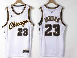 Mens Nba Chicago Bulls #23 Michael Jordan White Champion Commemorative Edition Jordan Jersey