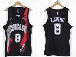 Mens Nba Chicago Bulls #8 Zach Lavine Black Fashion Edition Jordan Jersey