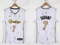 Mens Nba Brooklyn Nets #7 Kevin Durant White Christmas Edition Nike Swingman Jersey