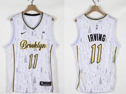 Mens Nba Brooklyn Nets #11 Kyrie Irving White Christmas Edition Nike Swingman Jersey
