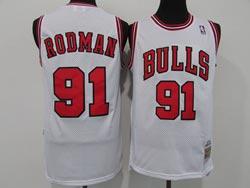 Mens Nba Chicago Bulls #91 Dennis Rodman White Mitchell&ness Hardwood Classics Mesh Jersey