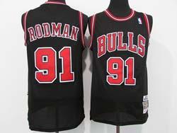 Mens Nba Chicago Bulls #91 Dennis Rodman Black Mitchell&ness Hardwood Classics Mesh Jersey