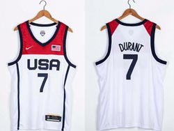 Mens 2021 Nba Usa #7 Kevin Durant White Olympic Edition Nike Jersey