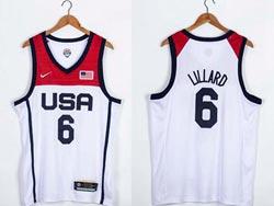 Mens 2021 Nba Usa #6 Lillard White Olympic Edition Nike Jersey