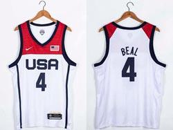 Mens 2021 Nba Usa #4 Bradley Beal White Olympic Edition Nike Jersey