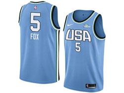 Mens Nba Usa Team #5 De'aaron Fox All Star Blue 19 New Player Nike Jersey