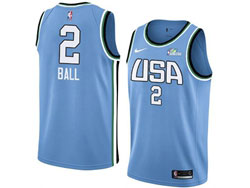 Mens Nba Usa Team #2 Lamelo Ball All Star Blue 19 New Player Nike Jersey