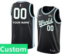 Mens Nba World Team Custom Made All Star Black 19 New Player Nike Jersey
