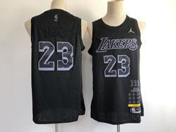 Mens Nba Los Angeles Lakers #23 Lebron James Black Mvp Jordan Jersey