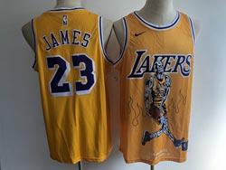 Mens Nba Los Angeles Lakers #23 Lebron James Yellow Skeleton Edition Swingman Nike Jersey