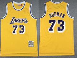 Mens Nba Los Angeles Lakers #73 Dennis Rodman Yellow Gold Patch Hardwood Classics Swingman Jersey