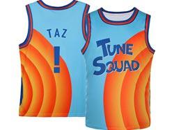 Mens Nba Space Jam Tune Squad #! Taz Blue&orange Swingman Jersey
