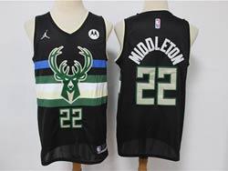 Mens 2021 Nba Milwaukee Bucks #22 Khris Middleton Black City Edition Jordan Swingman Jersey