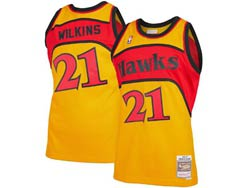 Mens Nba Atlanta Hawks #21 Dominique Wilkins Yellow Mitchell&ness Hardwood Classics Swingman Mesh Jersey