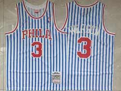 Mens Nba Philadelphia 76ers #3 Allen Iverson White Blue Stripe Hardwood Classics Swingman Jersey