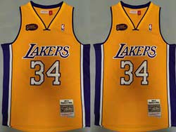 Mens Nba Los Angeles Lakers #34 Shaquille O'neal Yellow 00-01 Mitchell&ness Hardwood Classics Finals Patch Jersey
