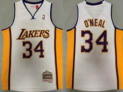 Mens Nba Los Angeles Lakers #34 Shaquille O'neal White 03-04 Mitchell&ness Hardwood Classics Jersey