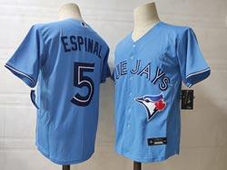 Mens Mlb Toronto Blue Jays #5 Santiago Espinal Light Blue Cool Base Nike Jersey