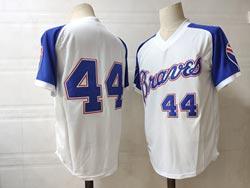 Mens Mlb Atlanta Braves #44 Hank Aaron White Pullover V Neck Cool Base Jersey