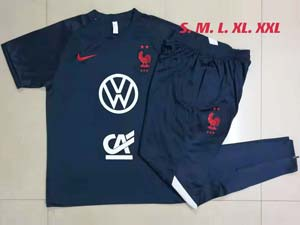 Mens 21-22 Soccer France National Team Short Sleeve And Navy Shorts Training Suit 2 Color