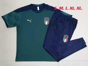 Mens 21-22 Soccer Italy National Team Dark Green Training And Dark Green Sweat Pants Training Suit C680#