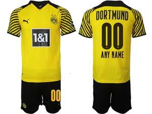 Mens Kids 21-22 Soccer Borussia Dortmund Club Custom Made Yellow Home Short Sleeve Suit Jersey