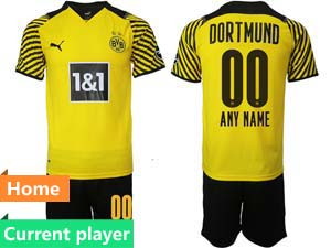 Mens Kids 21-22 Soccer Borussia Dortmund Club Current Player Yellow Home Short Sleeve Suit Jersey
