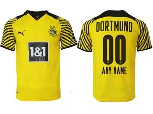 Mens 21-22 Soccer Borussia Dortmund Club Custom Made Yellow Home Thailand Short Sleeve Jersey