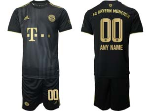 Mens Kids 21-22 Soccer Bayern Munchen Custom Made Black Away Short Sleeve Suit Jersey