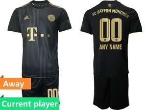 Mens Kids 21-22 Soccer Bayern Munchen Current Player Black Away Short Sleeve Suit Jersey